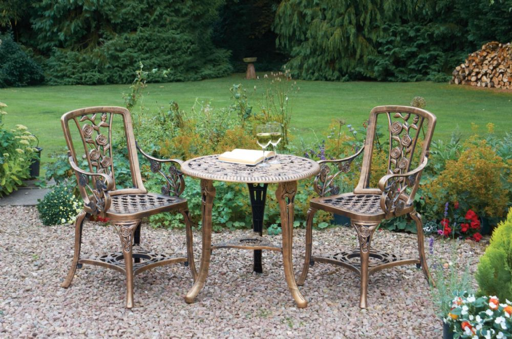 Patio Set 3 Piece With Arm Chairs Bronze 4176